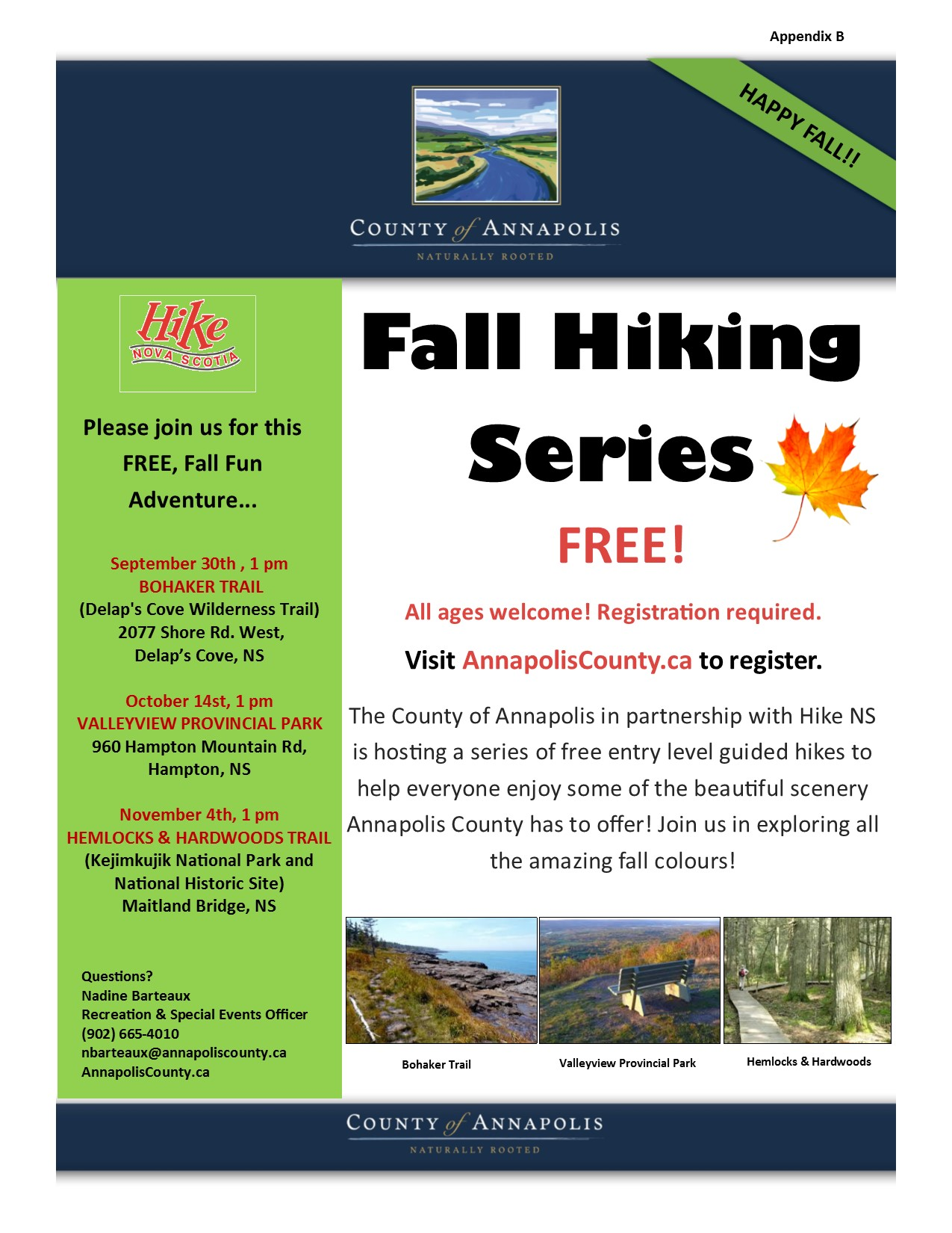 2018 Fall Hiking Series poster