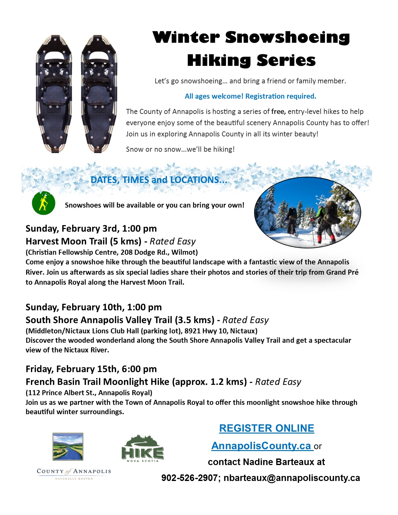 2019 Winter Snowshoeing Hiking Series poster