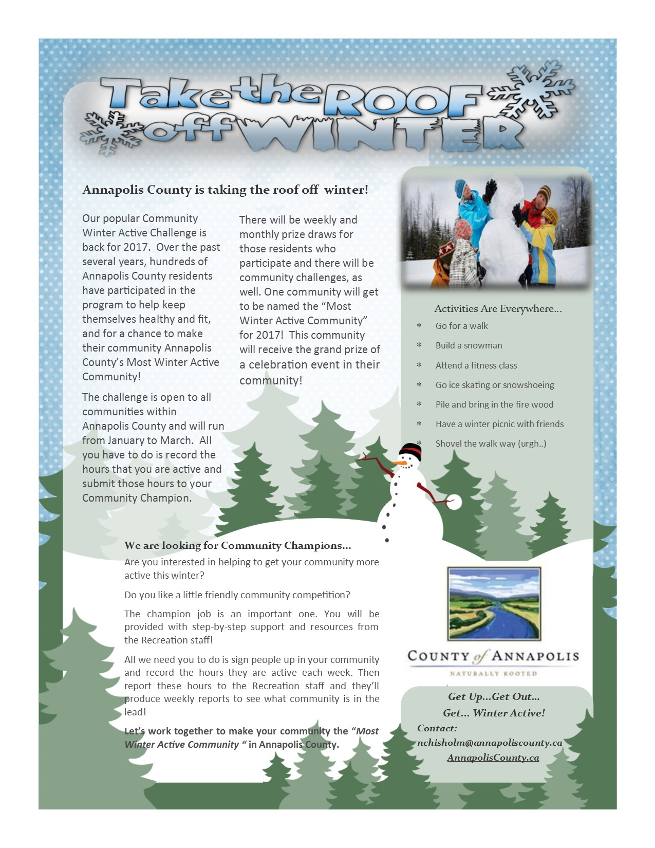 Community Winter Active Promotion Flyer