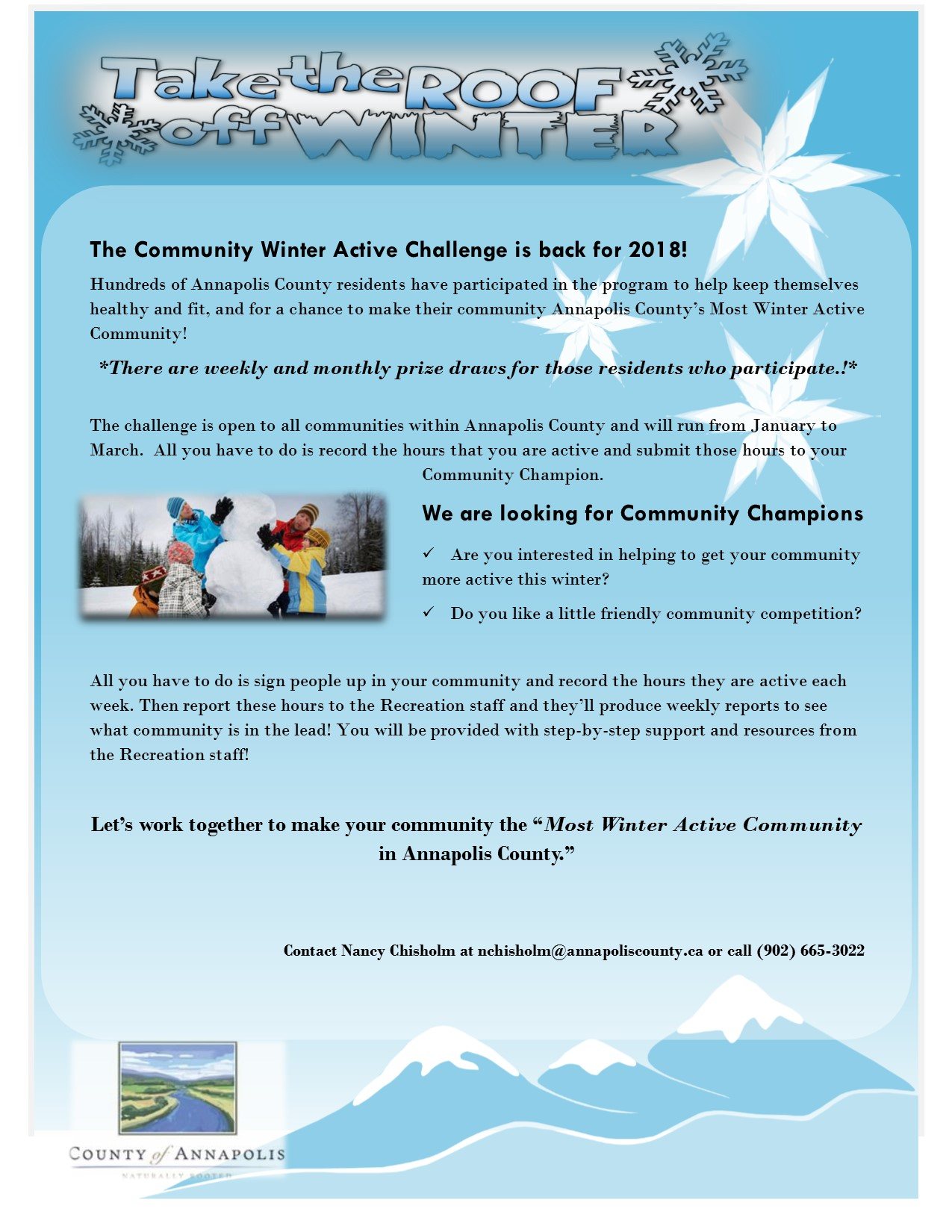 Promotional Flyer 2018 Winter Active Challenge
