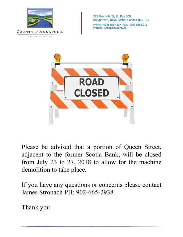 Scotia Bank demo Road Closure