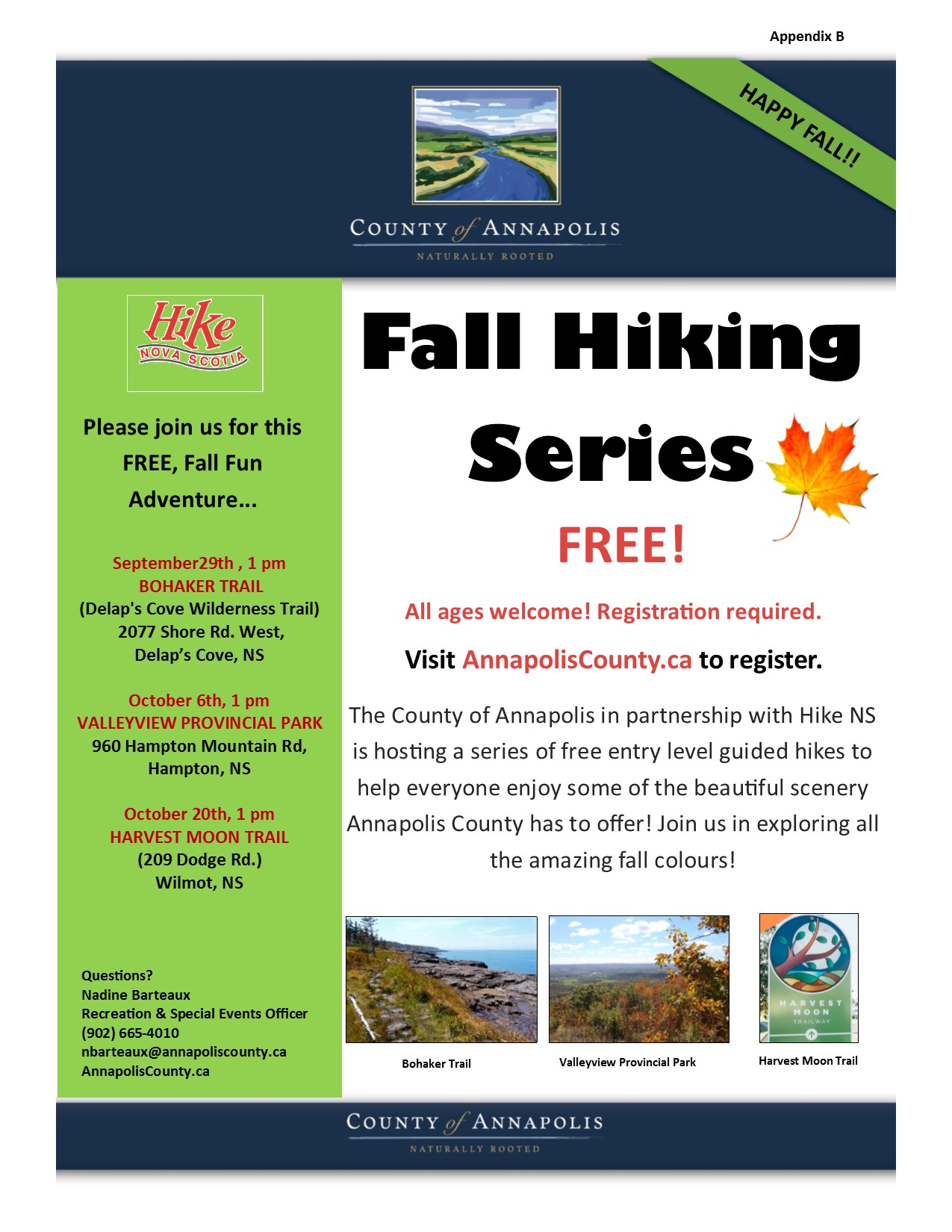2019 Fall Hiking Series poster