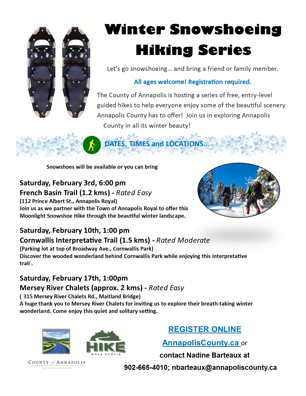 2018 Winter Snowshoeing Hiking Series poster