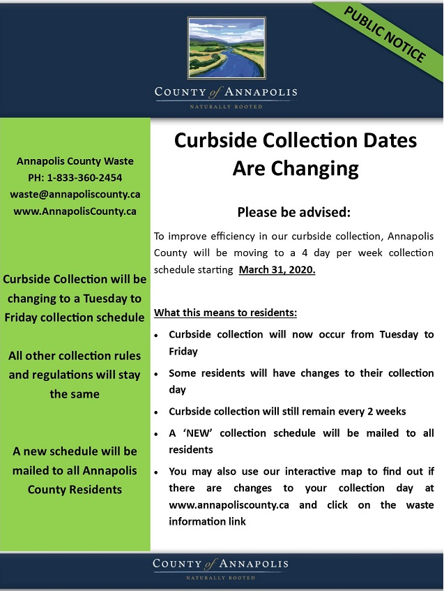 Curbside Collection Changes Public Notice